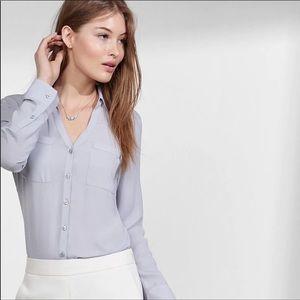 Express Portofino Sheer Button Down Gray Blouse